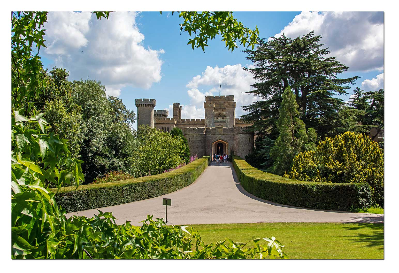 Eastnor Castle is a 19th-century mock or revival castle, two miles from the town of Ledbury in Herefordshire, England, by the village of Eastnor.